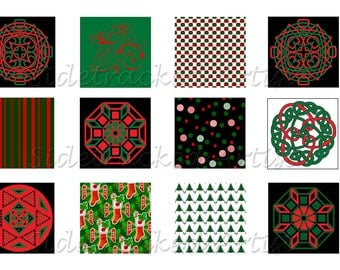 Instant Download / Christmas Red and Green  1 inch square DIGITAL IMAGES Collage sheet No. 275