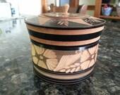 Vintage Hand Carved Circular Wooden Box Gift Trinket Box Flowers Vines Black Natural Wood