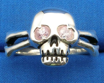 Pink Sapphire Eyes, Skull and Cross Bones Ring, Hand Crafted Recycled Sterling Silver