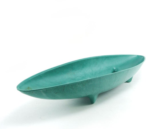 Vintage teal planter - canoe or banana boat dish with feet