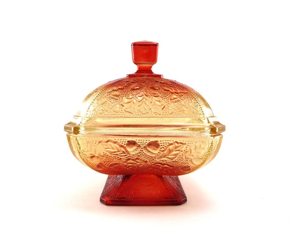 Amberina glass dish - honey gold amber red orange vintage collectible in autumn colors
