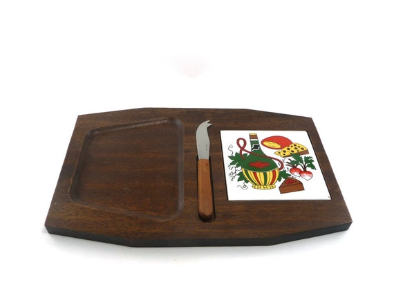Wooden cheese tray - vintage serving tray with knife