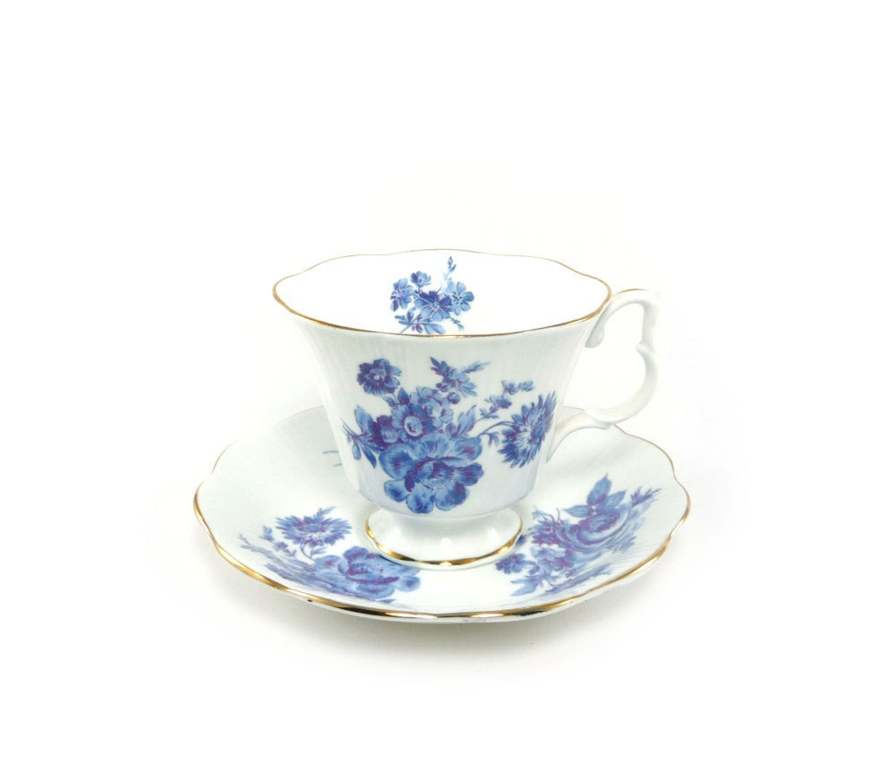 Blue Amp White Flower Teacup Royal Albert Bone China Cup And
