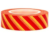 Red stripes on Yellow Washi Masking Tape Roll Adhesive Stickers WT38