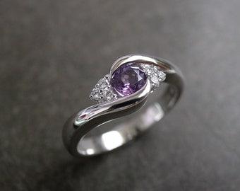 Diamond Wedding Engagement Ring with Amethyst Gemstone Purple Band Rings Women Jewelry Custom Made Jewellery Gift in 14K White Gold