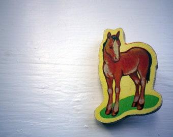 very vintage wooden brooch -- brown pony