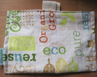 Organically Green Reusable Eco Friendly Snack Bag by Seweco/Easy Open /Child Friendly Tabs/FOOD SAFE