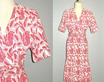 Vintage 80s day dress RED ROSES print short sleeved - S