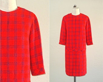 Vintage 60s mod dress RED PLAID long sleeve shift dress - L