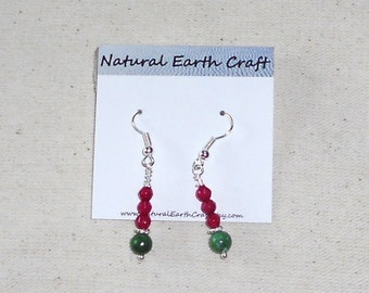 Green and red ruby in zoisite earrings semiprecious stone jewelry gemstone jewelry packaged in a gift bag 2036B
