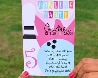 Printable DIY Girls Bowling Invitation