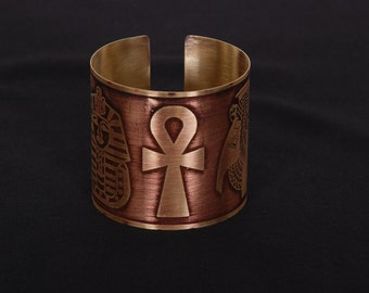 Brass Egyptian Hand madeTut Cleo Scarab Ankh Cuff Bracelet