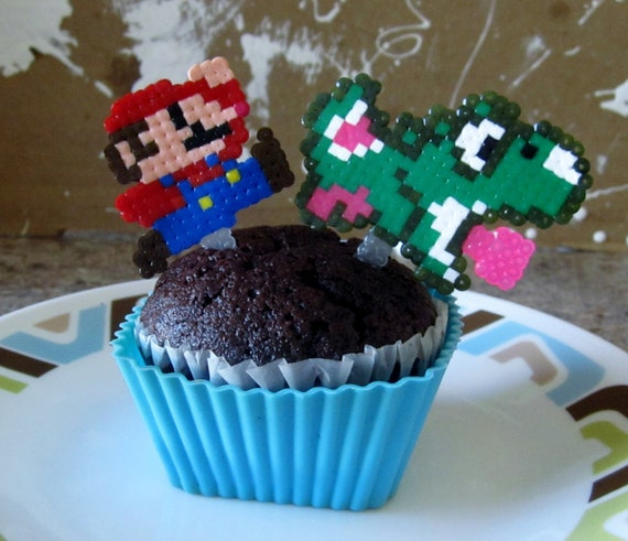 Pixelated Mario toppers