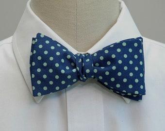 Men's Bow Tie, navy bow tie, aqua polka dots bow tie, wedding bow tie, groom bow tie, groomsmen gift, boardroom bow tie, self tie bow tie