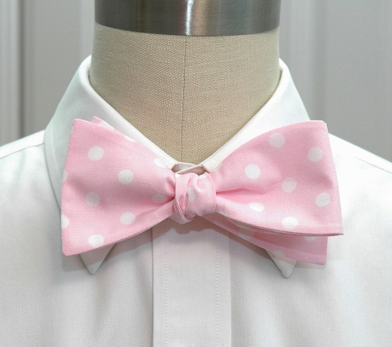 Men's Bow Tie in pale pink with white polka dots