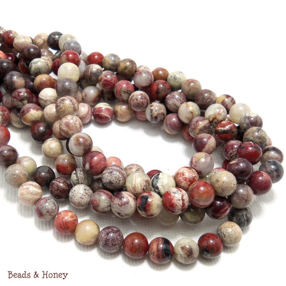 Silver Leaf Jasper, Red, Round, Smooth, 6mm, Natural Gemstone Beads, Full Strand, 65pcs - ID 1110