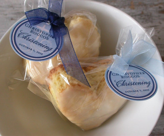 """Christening and Baptism Custom Favor Tags - For Cake Pops - Lollipops - Cookies - Desserts - Party Favors - (40) 1.5"""" Personalized Tags"""