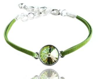 Get 15% OFF - Green Crystal Suede Leather Bracelet - Labor Day SALE 2017