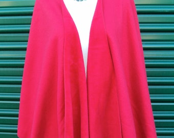One Size-lightweight Polar Fleece Shawl/Poncho/Wrap. Color shown in large photo is RED