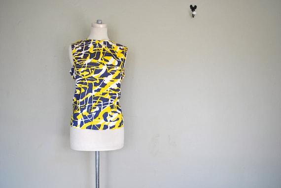 Dark Gray, Yellow and White Abstract 70s Tank - Sleeveless Large Shirt - Gray and Yellow Shirt