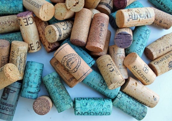 RESERVED Listing - Teal & Yellow Craft Corks -  colored oak wine corks