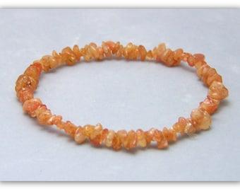 Stretch Bracelet - Gemstone Bracelet - Sunstone Bracelet, Sunstone Chips, Bead Bracelet, Gemstone Jewelry