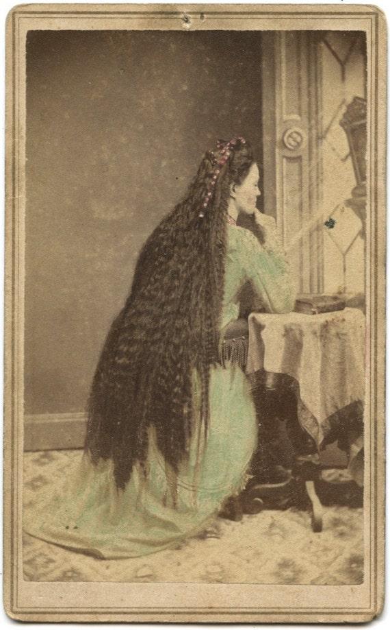 FREE SHIPPING / Rare Civil War Era Photo Woman with Beautiful Long Hair
