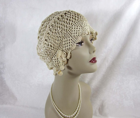 1920s 30s cloche deco era irish crochet cloche hat ivory. Black Bedroom Furniture Sets. Home Design Ideas