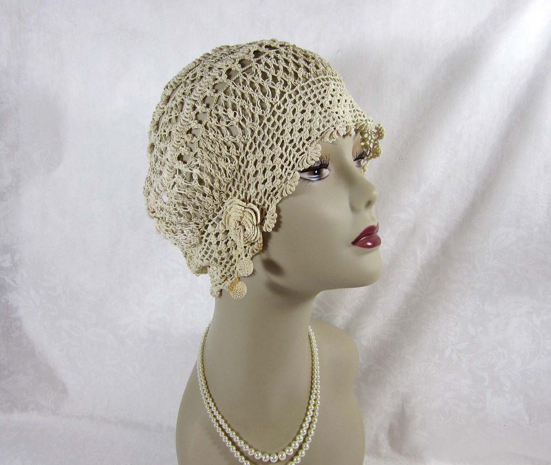 1920s 30s cloche deco era irish crochet cloche hat ivory. Black Bedroom Furniture Sets. Home Design Ideas