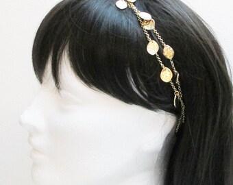 Charm Gold Bridal Headband, Chain Headband, Bridal Headband, Boho Headband, Gold Bridal Necklace, Modern Headband, Hippie Headband Woman