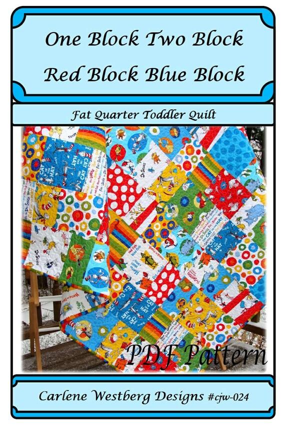 PDF Quilt Pattern  One Block Two Block Red Block Blue Block