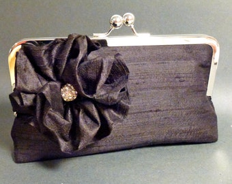 Bridesmaid Clutch with Dupioni Silk Flower and Rhinestone Black CUSTOMIZE