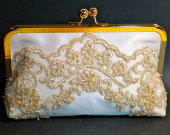 Bridal Clutch Gold Princess Lace on Ivory Elegant Wedding