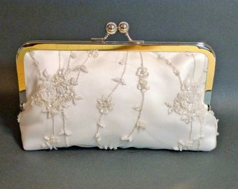 Bridal Clutch Beaded Rose and Vine Clutch Ivory READY TO SHIP