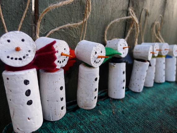 Christmas Ornament Set Champagne Variety 40 Ct : Set of cork snowmen ornaments gift tags by