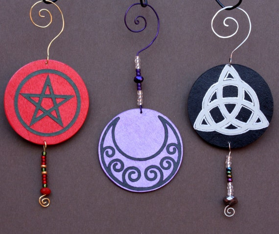 Pagan Holiday Ornaments Star Moon Triquetra by ...