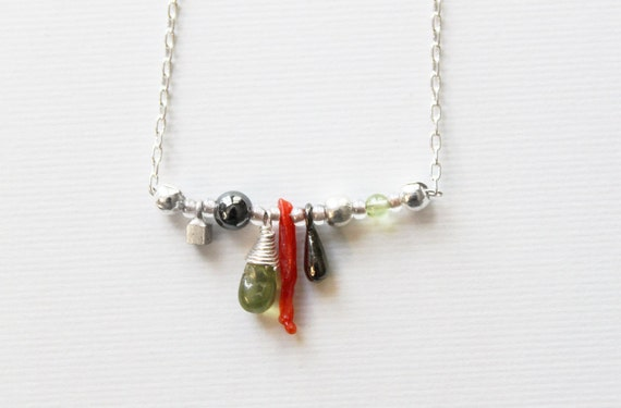Sundries Necklace --- sterling silver, glass, hematite, peridot and coral