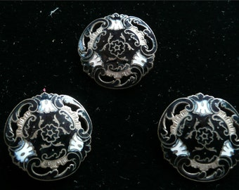 Vintage Victorian Edwardian Buttons Black and White Enameled Brass Shank Buttons