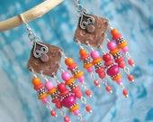 Hot Pink Red Orange Chandelier Earrings, Mixed Metal Work Earrings, Beaded Fringe Earrings, Boho Jewelry