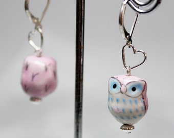 Hand Painted Porcelain Owl Earrings Your Choice of Color