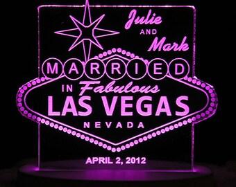 Las Vegas Wedding Cake Topper - Personalized - Acrylic - Light Extra