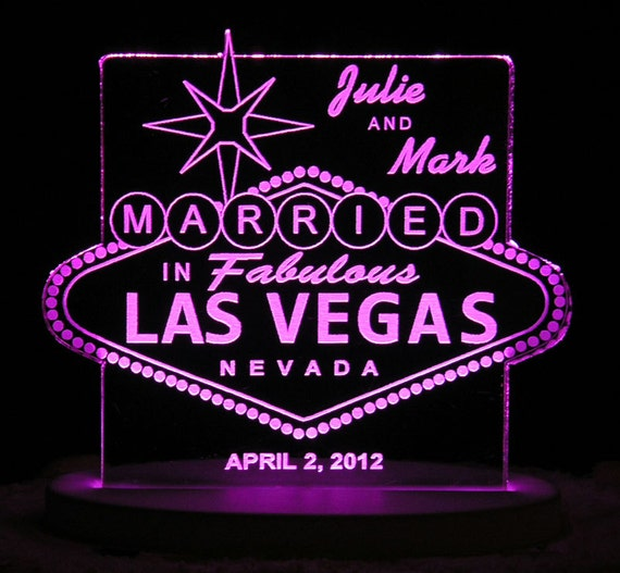 Las Vegas Wedding Cake Topper - Personalized - Acrylic - Light Extra
