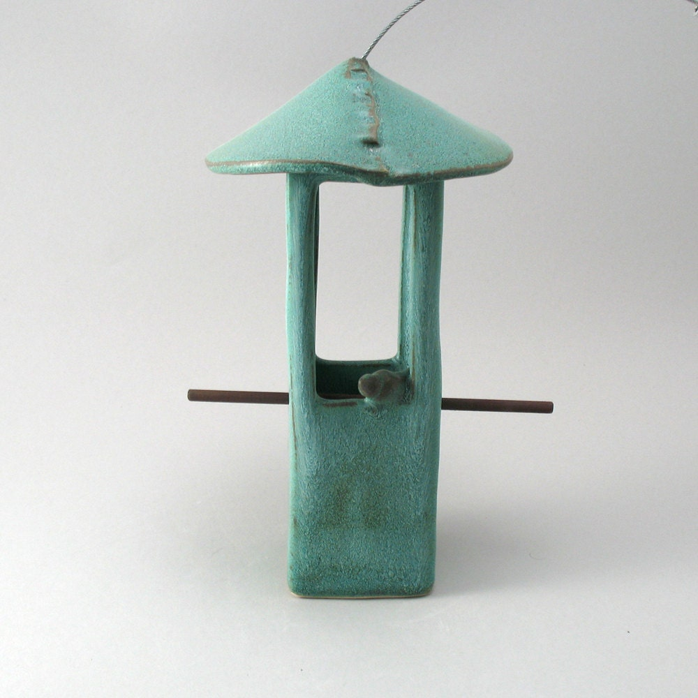 bird feeder ceramic bird feeder pottery bird feeder