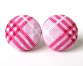 Pink white button earrings - fabric stud earrings checkered plaid picnic - gift for her - under 10