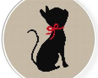 Instant download,free shipping,Cross stitch pattern, Cross-Stitch PDF,black cat with a  ribbon ,zxxc0302