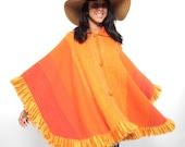 70s Wool Poncho - Vintage 70s Bright Orange Wool Blanket Poncho Wrap w/ chunky knit buttons and fringe - One Size Fits All