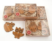 Wood Ornaments Woodland Animal Owl Fox Bunny Squirrel Acorn Hedgehog Raccoon Mushroom (Choice of TWO)