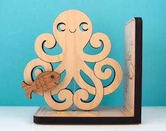 Wood Octopus Bookend: Kids Wooden Ocean Fish Book End