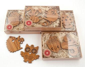 Kids Christmas Ornaments Wooden Owl Fox Bunny Squirrel Acorn Hedgehog Raccoon Mushroom (Choice of TWO)