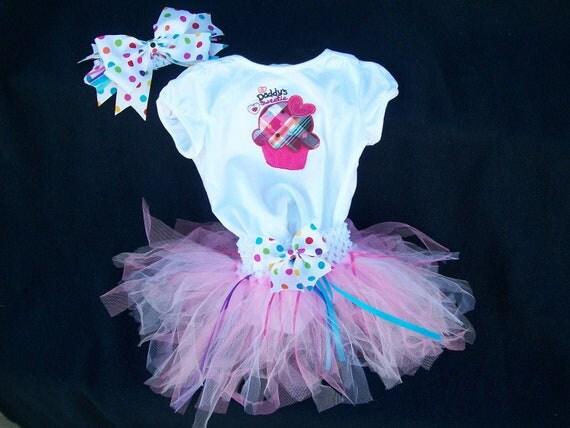 Polka Dot Cupcake ruffle bum onesie like baby bodysuit tutu outfit with bow and crotchet headband Daddy's Sweetie Birthday Girl 18 mos